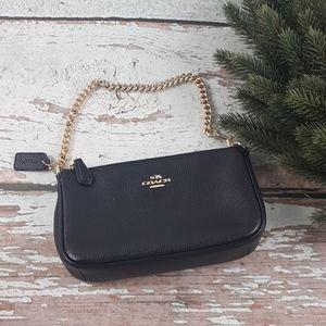 Coach mini black leather purse